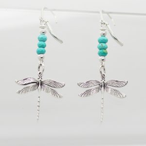 boucles Libellules Turquoises
